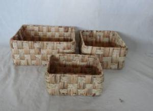 Home Storage Hot Sell Natural Waterhyacinth And Maize Braid Woven Over Metal Frame Baskets S/3