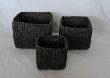 Home Storage Hot Sell Soft Woven  Paper Rope Dark Box S/3