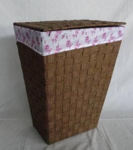 Home Storage Laundry Basket Flat Paper Braid Woven Metal Frame Laundry Hamper With Liner