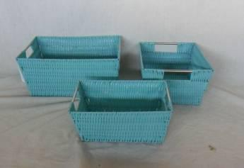 Home Storage Willow Basket Pp Tube Woven Over Metal Frame Baskets With Stainless Handle S/3