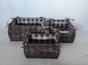 Home Storage Willow Basket Paper Twisted Woven Over Metal Frame Dark Color Baskets With Liner S/3