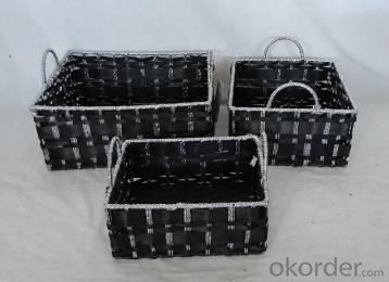 Home Storage Willow Basket Paper And Woodchip Woven Over Metal Frame Baskets S/3