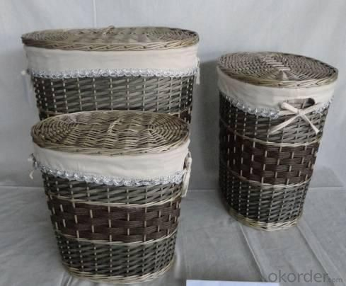 Home Storage Laundry Basket Stained Willow And Woodchip Gray Laundry Baskets With Liner S/3