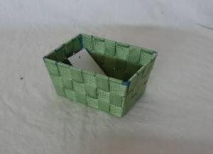 Home Storage Willow Basket Nylon Strap Woven Over Metal Frame Dark Green Basket