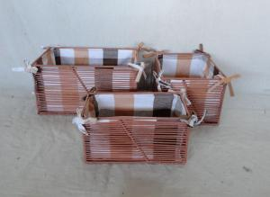 Home Storage Willow Basket Pp Tube Woven Over Metal Frame Baskets With Liner S/3