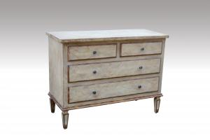 Home Furniture Classical Four Drawer Chest Light Color Painting MDF And Birch Solid