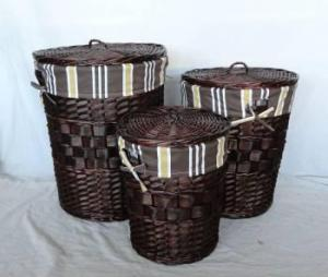 Home Storage Hot Sell Stained Woodchip Dark Color Laundry Baskets With Liner S/3