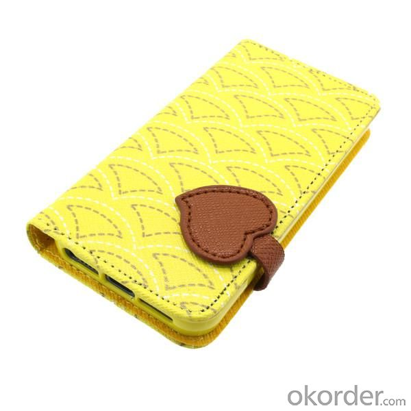 Wallet Pouch Cross Pattern PU Leather Stand Case Cover for iPhone5/5S Yellow
