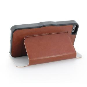 PU Leather Stand Case Cover for iPhone5/5S Brown