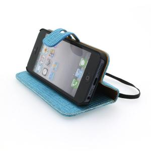 Cover for iPhone5/5S Luxury PU Leather Stand Case Blue