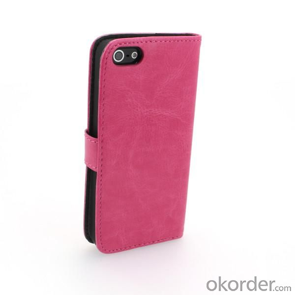 iPhone5/5S Wallet Pouch Lichee Pattern PU Leather Stand Case Cover Rose