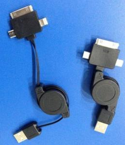 3 in 1 Data and Chager Cable Retractable USB TO IPHONE4 /IPHONE5 lightning /MICRO USB