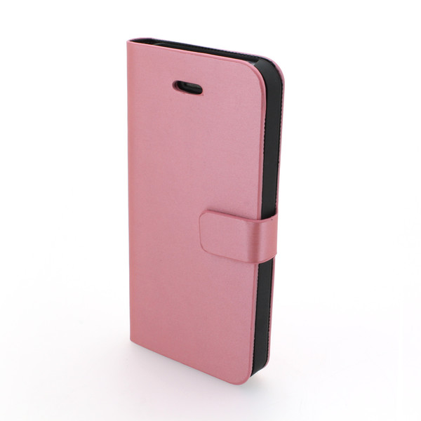 Luxury Lichee Pattern PU Leather Stand Case Cover for iPhone5/5S Pink