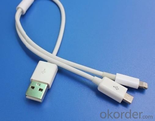 2 in 1 Chager Cable USB TO IPHONE5 lightning / MICROUSB