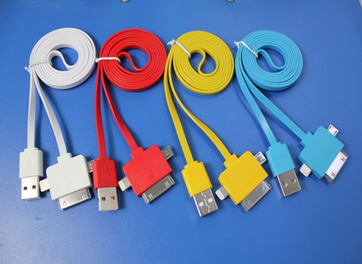 3 in 1 Data and Chager Cable USB TO IPHONE4 /IPHONE5 lightning /MICRO USB Yellow