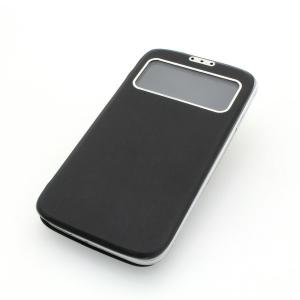 Front Hollow Luxury PU Leather Stand Case Cover for Samsung Galaxy S4 (I9500) Black