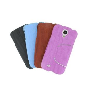 2014 Newest Wood Grain Leather Case For Samsung Galaxy S4 I9500 Retro Wood Texture PU Leather Stand Case Purple
