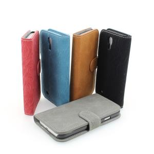 Orange Phone Case Wallet Pouch PU Leather Stand Case Cover for Samsung Galaxy S4 (I9500)