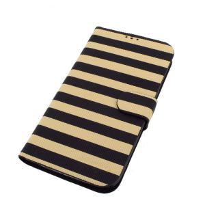 Wallet Pouch Luxury PU Leather Stand Case Cover for Samsung Galaxy S4 (I9500) Horizontal stripes
