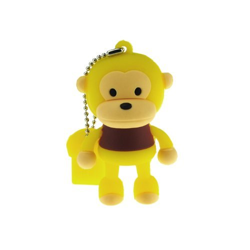2GB Cute Mini Cartoon Monkey USB Flash Memory Stick Drive Yellow And Brown