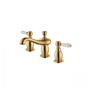 Antique Brass Body Basin Faucet With Two Zinc Alloy Handles