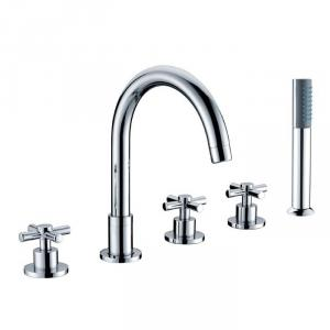 Three Blass Handle Chrome Plated Brass Body Faucet With Shower