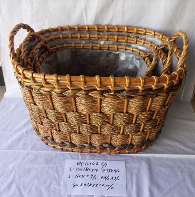 High Quality Hand Made Home Storage Basket Woven Basket With Plastic Liner