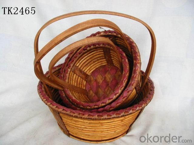 High Quality Home Storage Set Of Three Oval Willow Basket With Handle