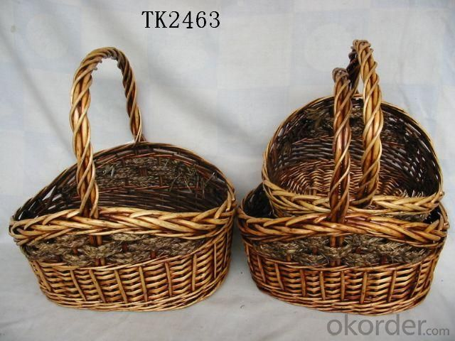 High Quality Home Storage Set Of Three Antique Willow Basket