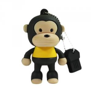 2GB Cute Mini Cartoon Monkey USB Flash Memory Stick Drive Black And Yellow