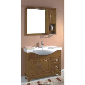 Classical Oak Bathroom Cabinet Ceramic Top Bath Vanity