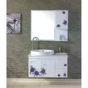 High End Purple Flower White Bathroom Mirror Cabinet