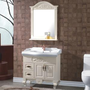Ceramic Top Oak White Bathroom Cabinet
