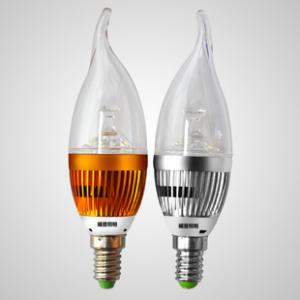 LED Bent-tip Bulb High Quality Gloden Aluminum 4x1W E14 180lm 85 to 265V LED Candle Bulb Light Spotlight Downlight