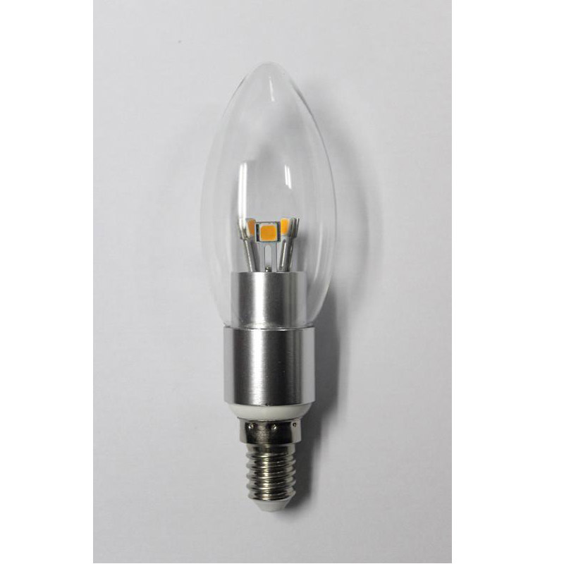 Hot Sale High Quality LED Candle Bulb Light Silver Aluminum 4W Ra85 E14 280lm