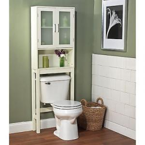 Modern White Bath Shelf Bath Cabinet Space Saver