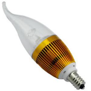 Dimmable LED Global Bulb Light LED Bent-tip Bulb Gloden Aluminum 1x3W E14