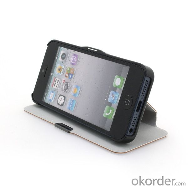 PU Leather Stand Case Cover for iPhone5/5S Black