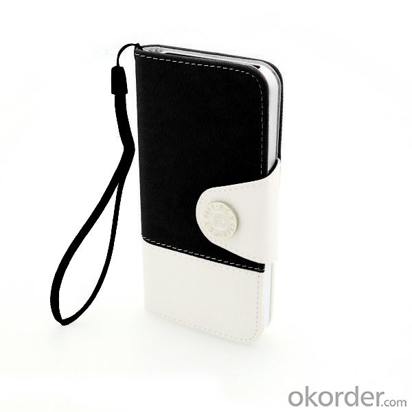 Wallet Pouch Tree Pattern PU Leather Stand Case Cover for iPhone5/5S Black