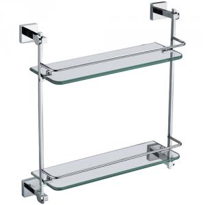 New Bathroom Accessories Solid Brass Double Glass Shelf