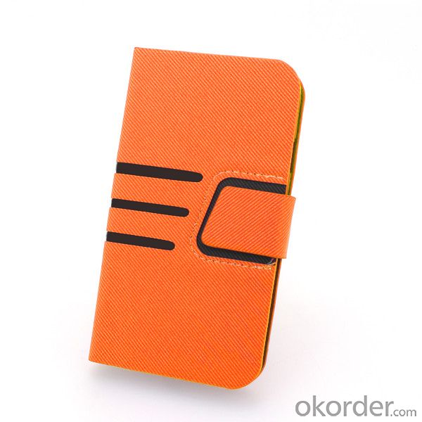 2014 Hot Selling For Samsung Galaxy S4 I9500 Stand Case Smart Cover With ID Credit Credit Card Slot Holder Orange