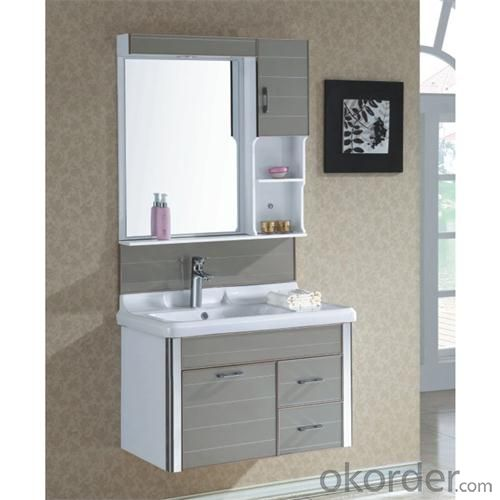 High Quality Ceramic Top Gary Bathroom Cabinet With One Chest And Two Drawers