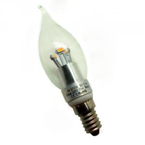 LED Bent-tip Bulb High Quality Silver Aluminum 5W Ra85 E14 380lm  85-265V LG SMD LED Chip Clear/Frosted/Milky Glass Cover