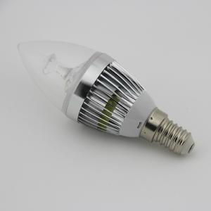 2 Years Warranty Dimmable LED Candle Bulb Light Silver Aluminum 5x1W E14 180lm
