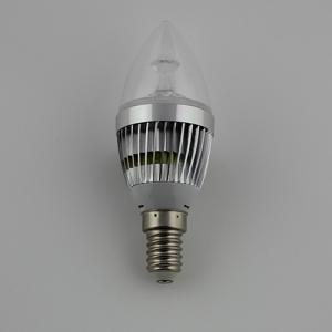Factory Dimmable LED Candle Bulb High Quality Silver Aluminum 1x3W E14 LED Global Bulb Light
