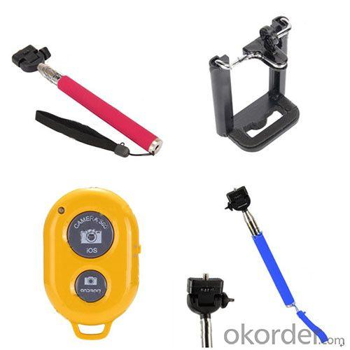 Camera Extendable Handheld Monopod Selfie Wireless Bluetooth Remote Shutter For Iphone Samsung Android With Phone Holder