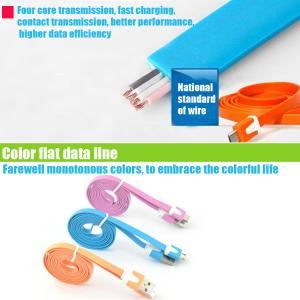 Colorful Flat Micro Usb Cable For Mobile Phone