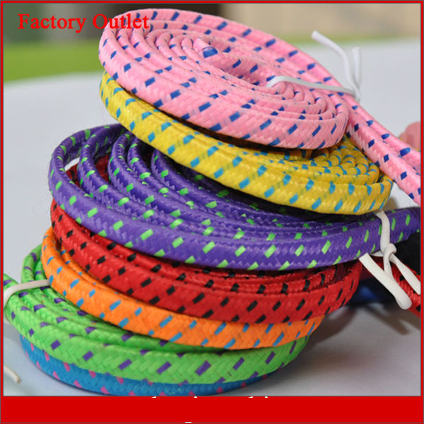 10 Ft Long Colored Fabric Braid Rope Woven Nylon Cable For Iphone 5 5S 5C
