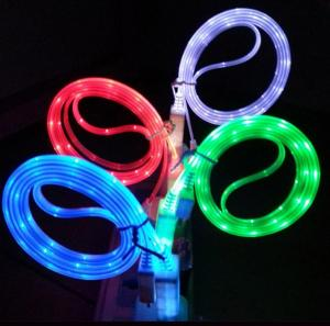 Led Light Micro Usb Data Cable For Samsung Mobile Phone Galaxy S4 I9500 N7100 S3 Htc