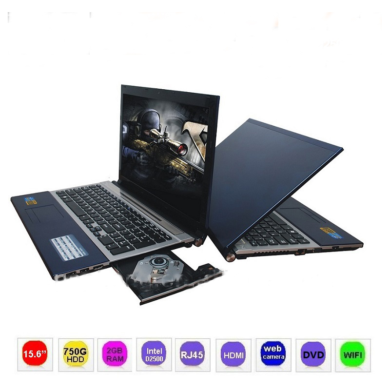 15.6 inch Windows 7 Laptop Computer with DVD Player 2G RAM 1TB HDD Intel Atom Processor D2500 1.86GHz 4400mAh